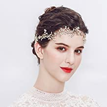 Miallo Wedding Bridal Hair Vine- Bridal hair accessory Full Circle Rhinestone silk ribbon Wedding Bridesmaid Headpiece