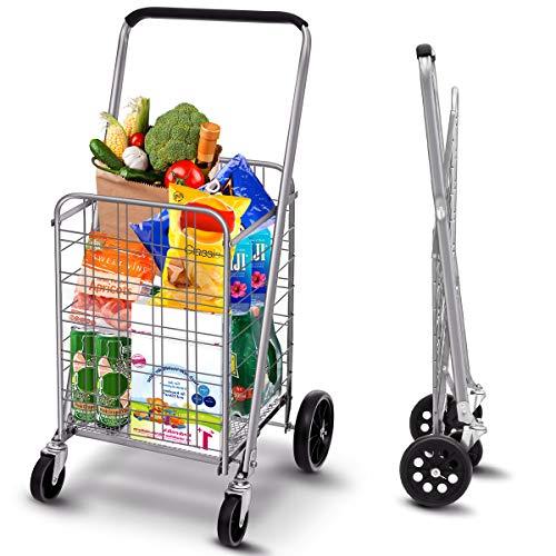 TOOCA Carro de compras utilitario, plegable con ruedas giratorias de 360 grados para comestibles, resistente pero ligero, carretilla de carga de hasta 200 libras