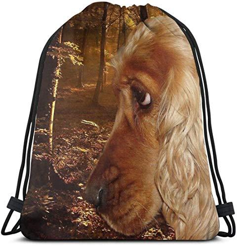 KINGAM Perro hombre con cordón bolsas bolsa de gimnasio mochila deportiva estilo mochila 2-One Size