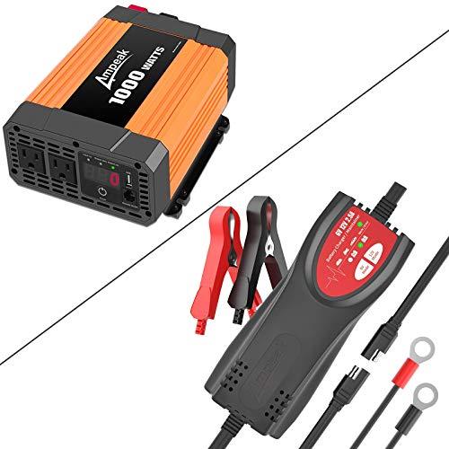 Ampeak 1000W Car Power Inverter and 6V/12V 2.5A Car Battery Charger Maintainer
