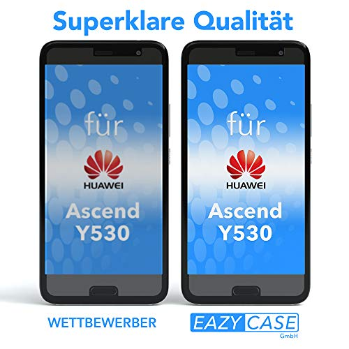 EAZY CASE Silikonhülle & Panzerglas Set kompatibel mit Huawei Ascend Y530 I Displayschutzglas, Panzerglas 0,3 mm 9H Härte, Schutzhülle Ultra dünn, Silikon Hülle, Backcover, Transparent/Kristallklar - 5