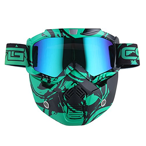 Motorcycle Goggles Mask, Detachable for Motocross Helmet Goggles use, Tactical Airsoft Goggles Mask: Eagle Green with Tinted Lens