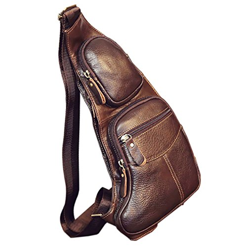 Hebetag Leather Sling Bag Backpack for Men Women Crossbody Shoulder Chest Day Pack Outdoor Travel Camping Tactical Daypack