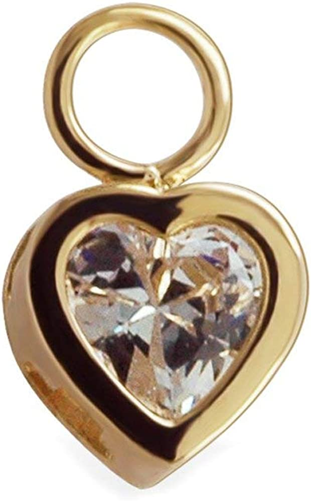 TummyToys Changeable Popular brand CZ Heart Belly Yellow Ring Charm ju A surprise price is realized Swinger