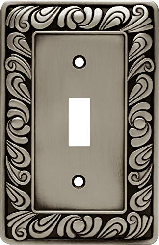 Franklin Brass 64048 Paisley Single Toggle Switch Wall Plate/Switch Plate/Cover, Brushed Satin Pewter
