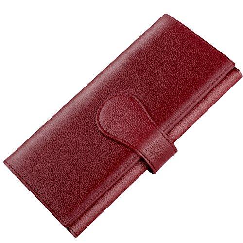 Luxspire RFID Blocking Portafoglio da Donna, Borsetta Lunga in Pelle Vera di Grande Capacità Organizer Carte per Donne Ragazze - Rosso Vino