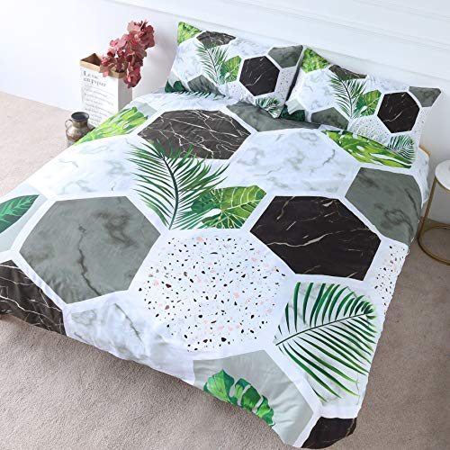 BlessLiving Modern Terrazzo Bedding Hexagon Marble Duvet Cover 3 Pieces Green Palm Leaves Bedspread Geometric Bed Set (Double)