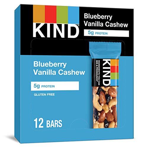 KIND Healthy Snack Bar, Blueberry Vanilla Cashew, 5g Protein, Gluten Free Bars, 1.4 OZ, 12 Count