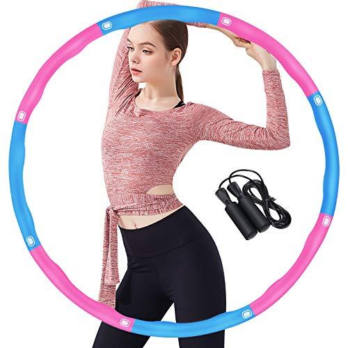 Gkodeamig Fitness Exercise Hoop, Fitness Erwachsene Reifen Hoop, 8 Abschnitte mit Schaumstoff Abnehmbarer Hoop, Einstellbares Hoop-Reifen mit Seilspringen für Fitness