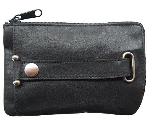 Josephine Osthoff Handtaschen-Manufaktur Leder DOPPEL Schlüsseletui Schwarz Schlüsselglocke EIN-Hand Schlüsselmäppchen 972/10