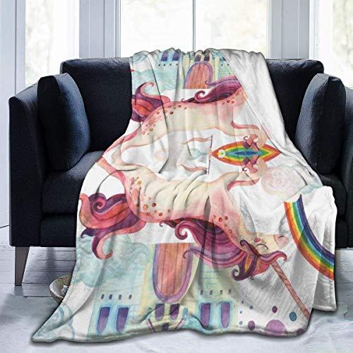 Manta de microforro polar con diseño de caballo volador y arco iris, 127 x 102 cm