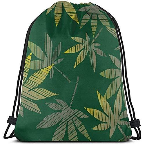 Bouia Gym Trekkoord tassen, bladeren planten oppervlak dode rugzak zak zak gym zak tas tas voor gym zwemmen tennisschoenen opbergtas