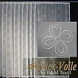 EASYHomefashion Hochwertige Fertiggardine - Voile Store mit Motiv Stickerei - Faltenband&Bleiband »CREMONA« versch. Größen, 175 x 600 cm (HöhexBreite)