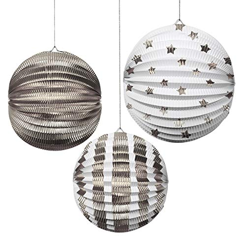 Boules en papier décoratives argentés - Meri Meri
