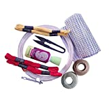 Dhruv Crafts Embroidery Starter Kit for Beginners Embroidery Frame, Thread, Floss, Cutter, Glue & Measurement Tape (Wood)