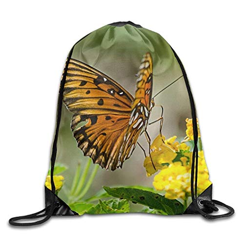 Lsjuee Butterfly-Nature-Flowers Cool Gym Drawstring Bags Travel Backpack Tote School Rucksack