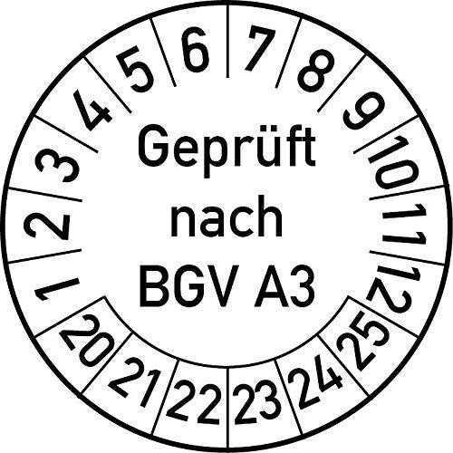 Geprüft nach BGV A3 Prüfplakette, 100 Stück, in verschiedenen Farben und Größen, Prüfetikett Prüfsiegel Plakette (30 mm Ø, Weiß)