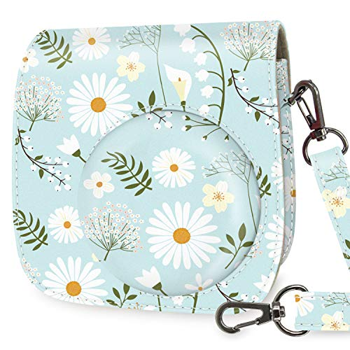 WOLVEN Protective Case Bag Purse Compatible with Mini 9 / Mini 8 / Mini 8+ Instant Camera, Blue Flower Floral