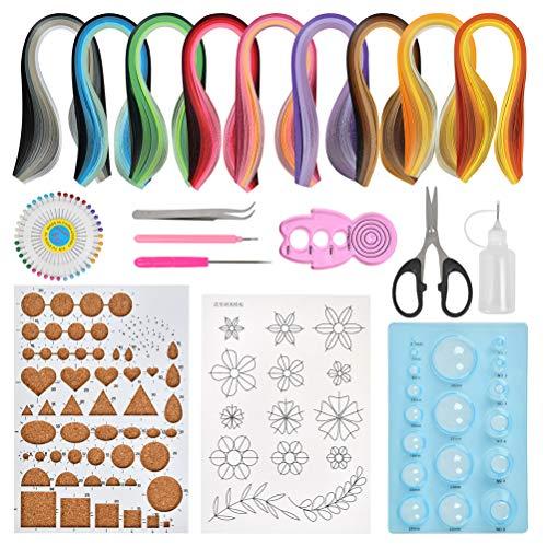 BUYGOO 19PCS Papier Quilling Kits - 900 Streifen Quilling Kunstdruckpapier und 10 Quilling-Bastelwerkzeugen für Quilling DIY Design Zeichnung Handwerk Werkzeug