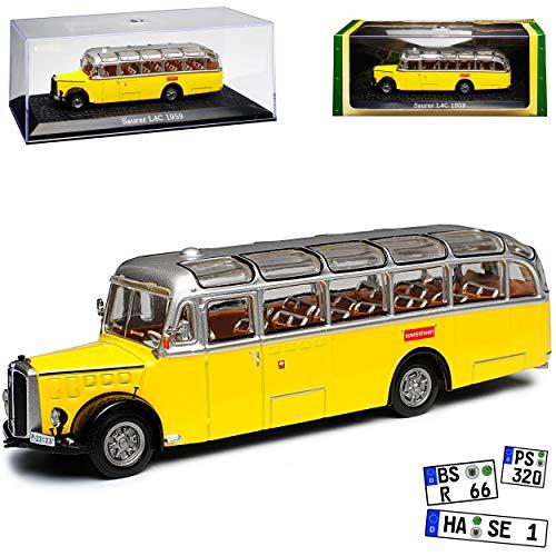 Saurer L4C Bus PPT Post Schweiz mit Sockel und Vitrine 1/72 Atlas Modell Auto mit individiuellem Wunschkennzeichen