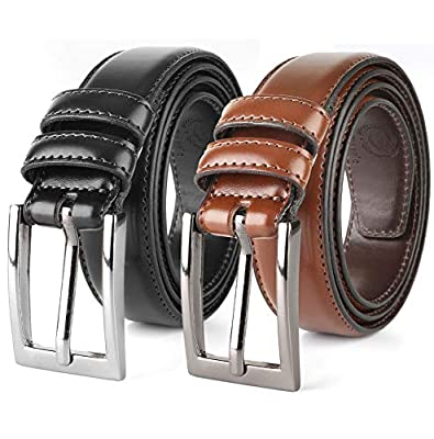 belt for men leather Causal Dress Belt for Men, with Classic Single Prong Buckle,Gift box -black/brown-size 48,Profile