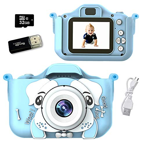 Cámara para Niños, Infantil Cámara de Fotos Digital con 32GB Tarjeta de Memoria, Videocámaras Juguetes con Perrito Funda Protectora de Silicona, Niños y Niñas Cumpleaños Regalo