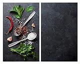 Allstar Plaque de protection en verre Basilic - Set de 2, couvre-plaque de cuisson pour plaques de cuisson vitrocéramiques ou induction, Verre trempé, 30 x 0.8 x 52 cm, Multicolore