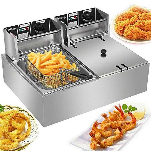 VIZIONSTAR 12L Electric Deep Fryer Dual Tank Stainless Steel 2 Fry Basket Commercial 5000W