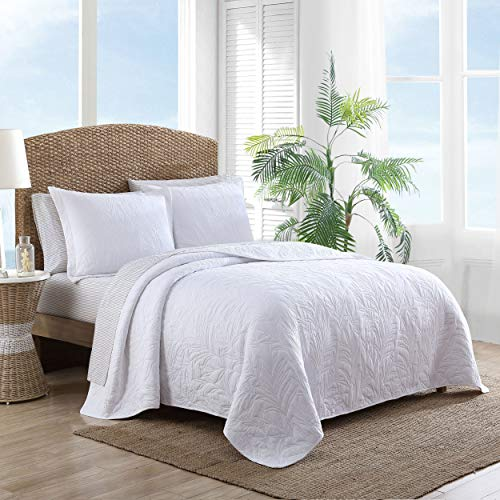 Tommy Bahama Costa Sera Collection Soft and Breathable, Quilt Bedpsread Coverlet Seasons, Pre-Washed for Added Softness, Full/Queen, White