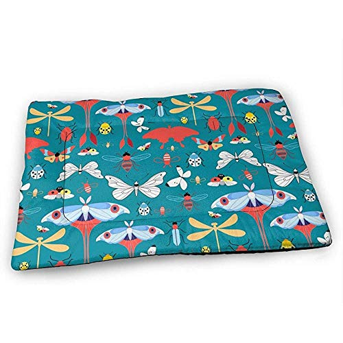 YAGEAD Grafik mit verschiedenen Insekten Hundebettmatte mit wasserdichtem rutschfestem Boden, waschbare Hundekistenmatte für schlafende Haustierpolster