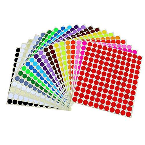 Runde Punktaufkleber,13 mm Aufkleber Bunte Punkte Farbige Farbkodierung Etiketten für Heimbüroartikel,16 verschiedene Farben