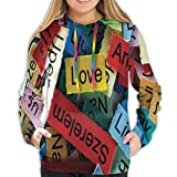 Women's Hoodies Tops,Love Word Cloud Design in Different Languages French Japanese All Common Artsy Artwork,Lady Fashion Casual Sweatshirt,M