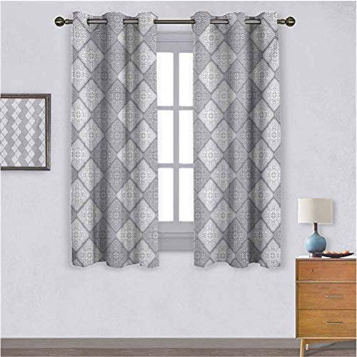 Zara Henry Damask Light Luxury Curtains Victorian Style Ornamental Oriental Figure Retro Mosaic Art Tiles Abstract Image Adjusting The Scene Outside The Window W55 x L39 Dimgray