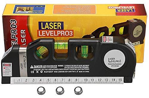 Ranwell Level Laser Plastic Horizon Vertical Measure Tape Aligner Bubbles Ruler Multifunction Leveler Tool (Black)
