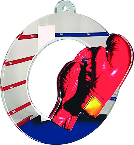 Trophäe Monster-Boxhandschuhe, Medaillen-Set, für Clubs und Partys, aus bedrucktem Acryl, 50 mm, 60 mm oder 70 mm (3 Packgrößen), Mehrfarbig, 50 mm