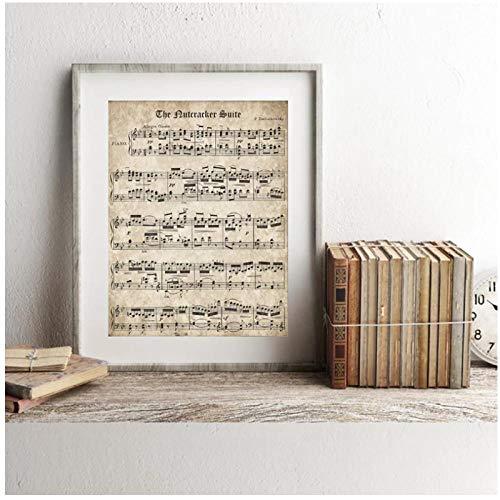 KBIASD Spartiti Vintage Poster e Stampa Musica Classica per Pianoforte su Tela Pittura murale Home Decor- 50x70cm Senza Cornice