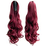 Beauty Wig World 20 Inch Curly Synthetic Clip in Claw Ponytail Hair Extension Synthetic Hairpiece Jaw Clip Claw in-99J(wine Red)