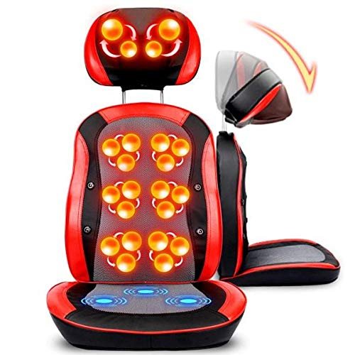 LQ&XL Electric Massage Chairs Seat Pads Shiatsu Massage Seat Cushion Back Vibration with Heat,Deep Kneading Full Back Massager seat Cushion for Home Office use Back and Neck/A