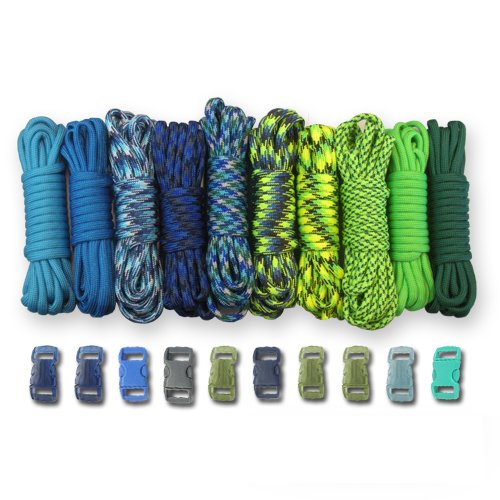 PARACORD PLANET 550lb Type III Paracord Combo Crafting Kits with Buckles Coastal