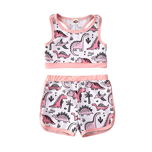xkwyshop Toddler Baby Girl Swimsuit Watermelon/Dinosaur Sleeveless Toddler Girl Bathing Suit 2 Piece Swimwear Beachwear (Dinosaur, 3-4T)
