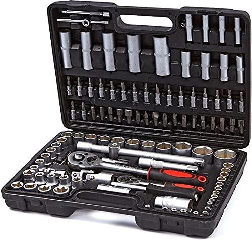 """Maletin Estuche de herramientas 1/4"""" y 1/2"""" carracas, llaves, vasos, puntas, adaptadores, completo 108 piezas"""
