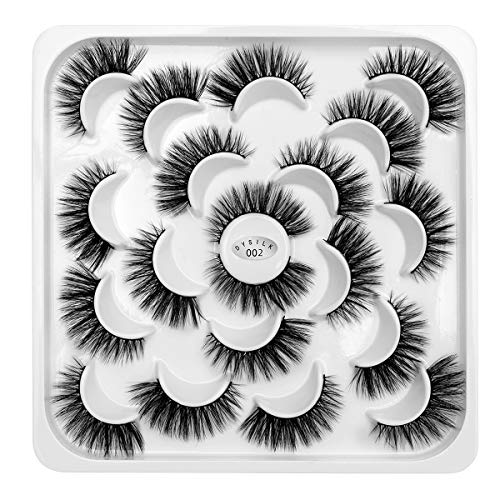 Price comparison product image DYSILK 10 Pairs 3D Mink Eyelashes Dramatic Look False Eyelashes Fluffy Fake Eyelashes Wispy Natural Eyelashes Makeup Long Handmade Soft Thick Lashes Reusable Black