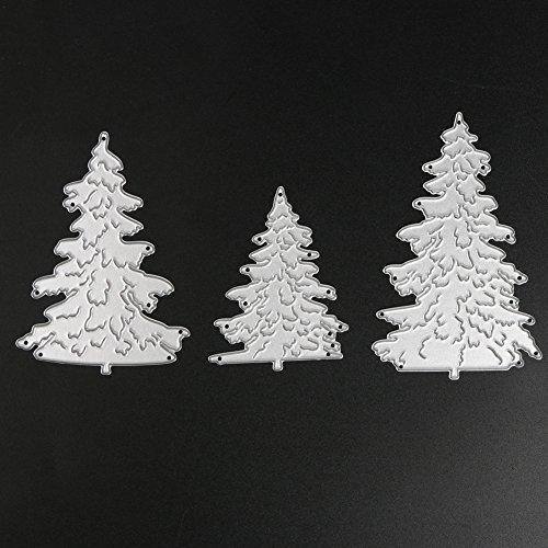 Demiawaking 3Pcs Weihnachtsbaum Schneiden Schablonen DIY Sammelalbum Dekor Papier Karten, Metall Buchzeichen, Metall Lesezeichen als Geschenk Fuer Freunde