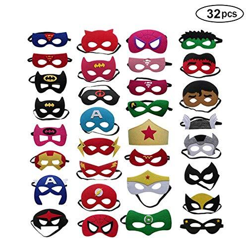 BJ-SHOP Superhelden Masken,Superhero Cosplay Party Masken Halbmasken Halbe Augenmasken fur Kinder Party Taschen Fullstoffe