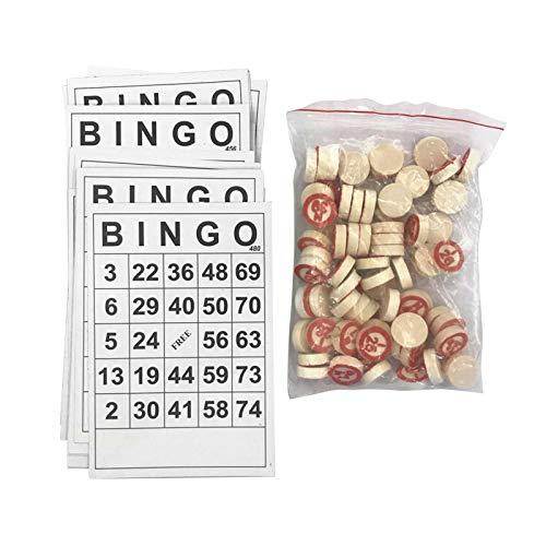 happygirr 40PCS clásico cartones de Bingo Juegos de Mesa Fun Family Card Juego del Bingo Chips para Adultos y niños 18x15cm