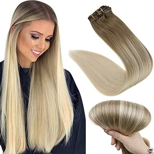 Easyouth Clip in Hair Extensions 14 Zoll 70g 7Stück Balayage Farbe 8/60 Ash Brown Fading zu Platinblond Clip in Menschliches Haar Verlängerung Clip