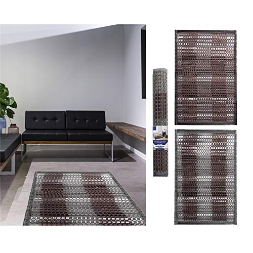Comercial Candela Alfombra Bambu Diseño Trenzado Antideslizante | Alfombra de Madera Salon, Baño, Cocina, Dormitorio (110_x_170 CM)