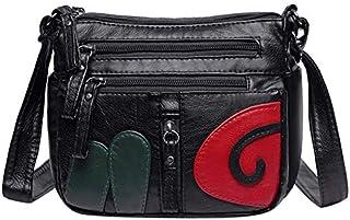 GUMAOPAJIAAA Bag, Casual Print Girls Shoulder Bag for Women Soft PU Leather Messenger Handbag Multi-pocket Zipper Ladies S...
