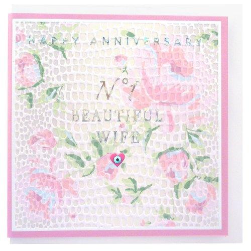 Verjaardagskaart - Aan mijn mooie vrouw - Verijdeld, reliëf en met de hand afgewerkt met Diamante uit het Papier D'or bereik door Real & Spannende ontwerpen