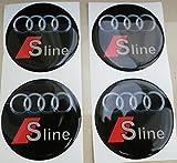 Radnabenkappen, 60 mm, 3D Tuning-Effekt, geharzt, Nieten, Sticker, Aufkleber für Leichtmetallfelgen, 4 Stück